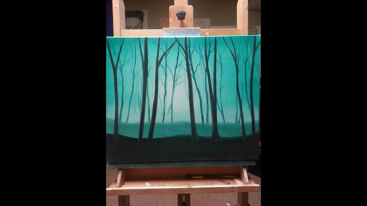 easy oil painting for beginners misty forest wet on wet youtube. Black Bedroom Furniture Sets. Home Design Ideas