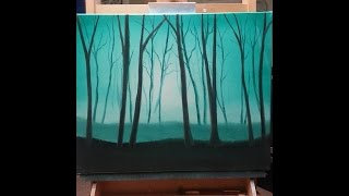 easy oil painting for beginners misty forest wet on wet