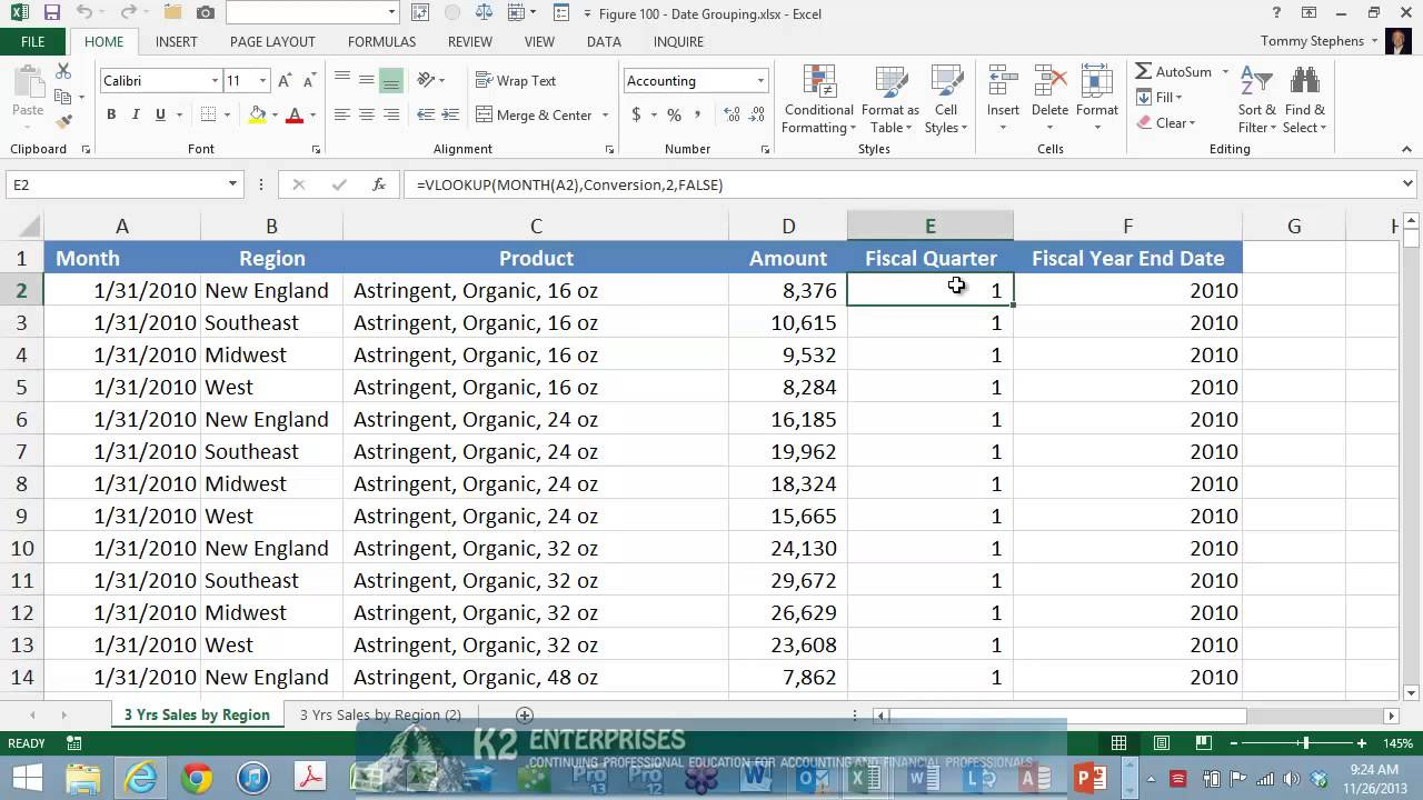 Grouping PivotTable Data Into Fiscal Quarters