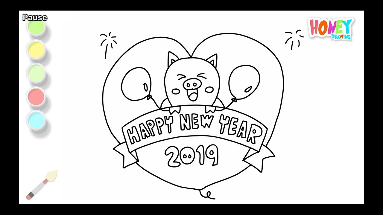 Drawing For Kids Happy New Year 2019 Coloring Pages How To Draw