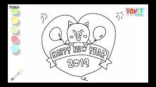 Drawing for Kids & 39 Happy New Year 2019& 39 Coloring Pages How to draw & 39 Happy New Year& 39 for children& 39 s