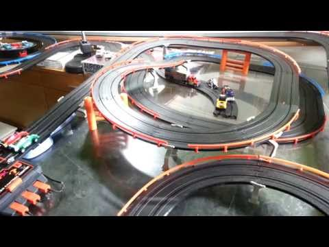 Micro scalextric slot car racing on tomy afx track