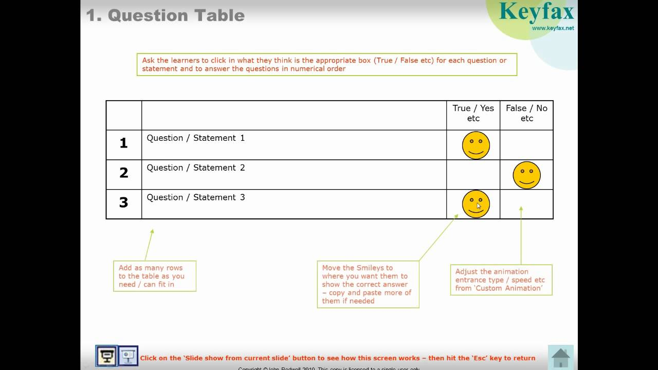 Interactive powerpoint template for educational quizzes and e interactive powerpoint template for educational quizzes and e learning question table alramifo Choice Image