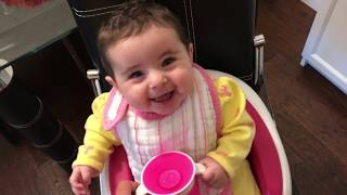 6 months old baby tries the Munchkin 360 Cup for the first time
