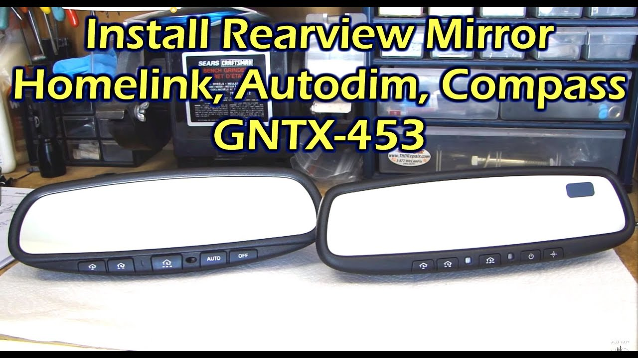 install rearview mirror with homelink autodim compass for nissan youtube. Black Bedroom Furniture Sets. Home Design Ideas