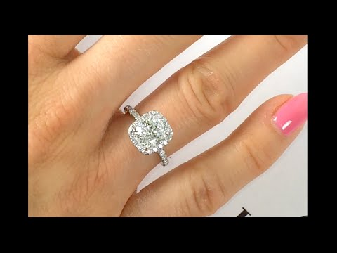 2 Carat Cushion Diamond Halo Ring Youtube