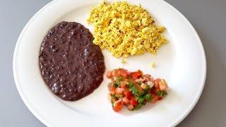 Baked Tofu Scramble And Black Refried Beans-vegan
