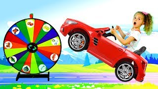 Nadia plays with a magic wheel and shows vehicles