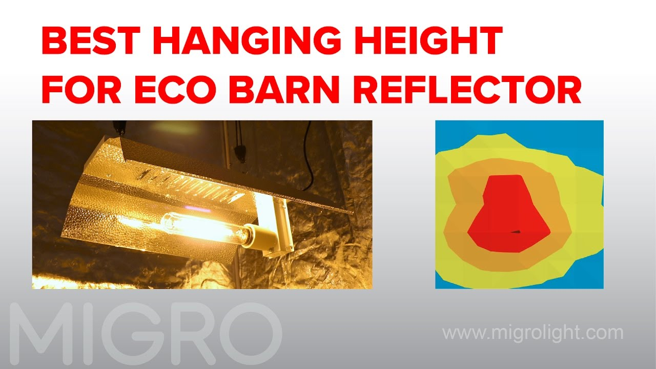 Best hanging height for 600W HPS with barn or wing reflector
