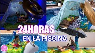 24 Horas en la PISCINA - Puedo COMER debajo de agua!!! LA DIVERSION DE MARTINA