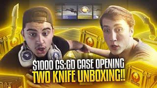 $1000 CSGO CASE OPENING - TWO KNIFE UNBOXING!!