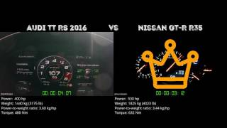 Audi TT RS 2016 vs. Nissan GT-R R35 - the 0-100 km/h duel. Which on...