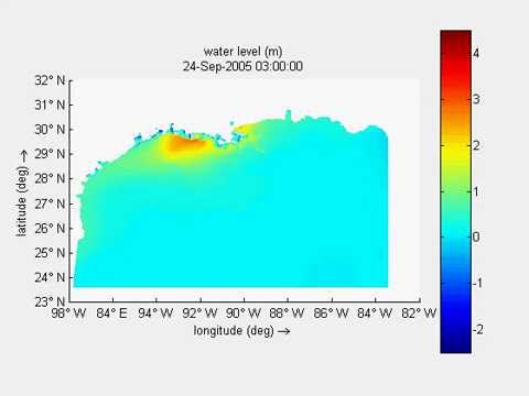 Water level in Gulf of Mexico during Hurricane Rita