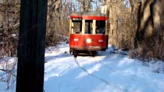 Birney car #656 run-by in the snow