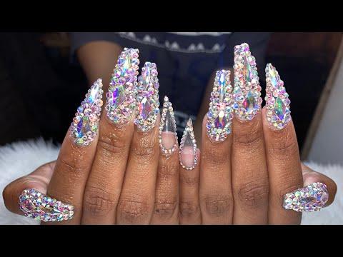 Acrylic Nails Tutorial   Prom Nails   Bling Prom Nails