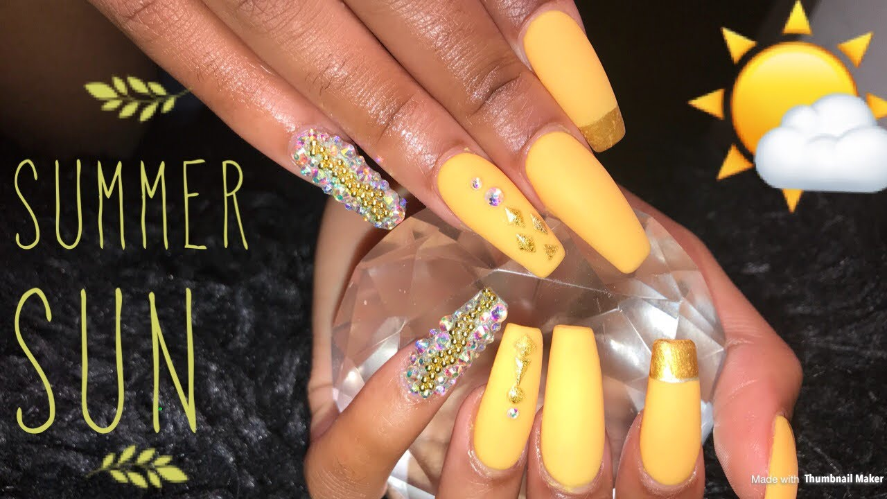 Acrylic Coffin Nails Tutorial Yellow Summer