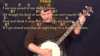 Family Tradition (Hank Williams, Jr.) Banjo Cover Lesson with Chords/Lyrics