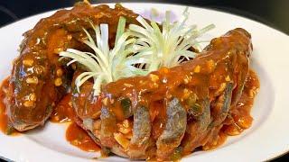 """Cá tráp chiên giòn sốt chua ngọt_cách sơ chế cá hết tanh và khứa vảy tạo hình""""song ngư""""_Bếp Hoa"""