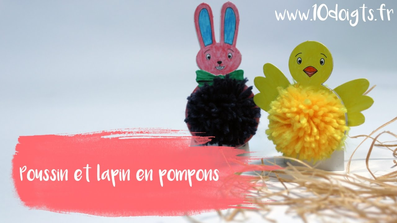 diy bricolage p ques lapin et poussin en pompons youtube. Black Bedroom Furniture Sets. Home Design Ideas
