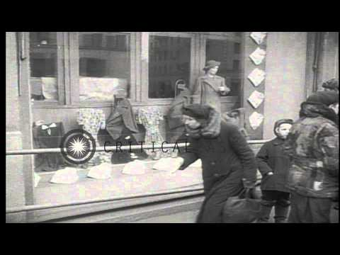 Russian people getting into streetcars in Moscow, Soviet Union. HD Stock Footage