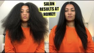 How To Get BONE STRAIGHT Natural Hair at Home! ⎜ No Frizzy Ends No Heat Damage