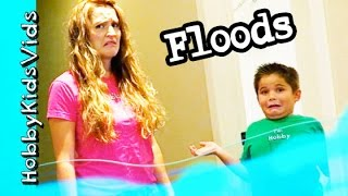 HobbyKid House Floods! Water Everywhere - HobbyDad Helps by HobbyKidsVids
