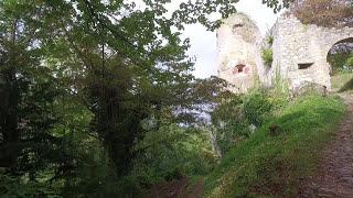 Alsace Chateau de Ferrette (Ferrette castle) and village of Ferrette