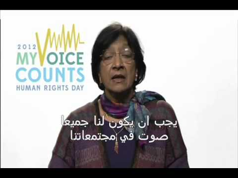 Navi Pillay message on Human Rights Day 2012 Arabic subtitles - , UN High Commissioner