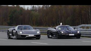 [4k] Koenigsegg Agera R vs Porsche 918 Spyder Weissach Package 50-320+ km/h