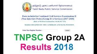 TNPSC Group 2A Results 2018  @ www.tnpsc.gov.in