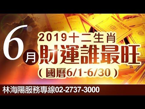 林海陽 2019 六月生肖財運誰最旺?你上榜了嗎? 月運勢 20190516