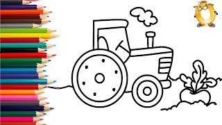 Раскраска для детей ТРАКТОР И РЕПКА. Мультик - Раскраска. Учим цвета II ОБУЧАШКА ТВ