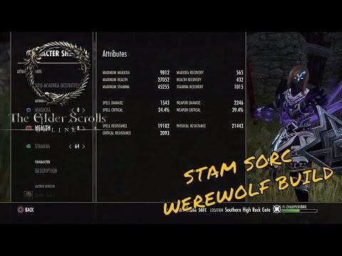 ESO - My Stamina Sorcerer Werewolf Build - NesquikKid