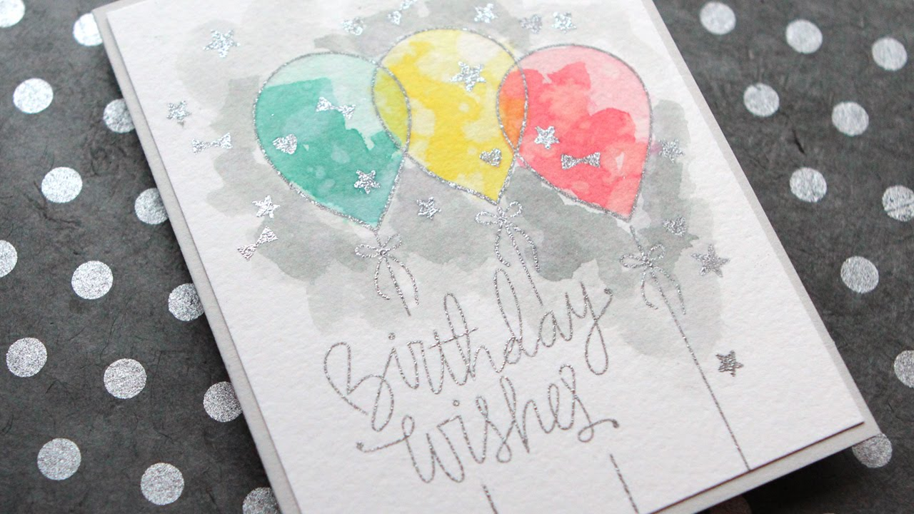 Distress Ink Watercolor Birthday Card YouTube