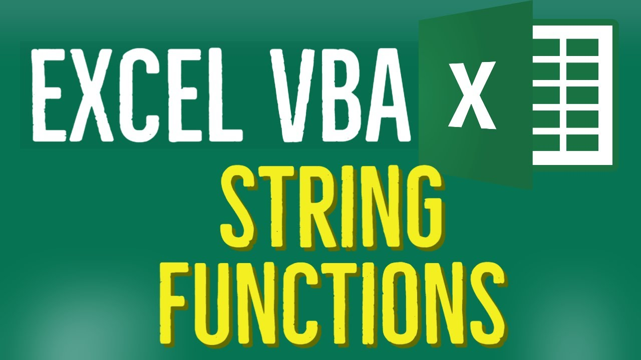 String Functions in Excel using VBA