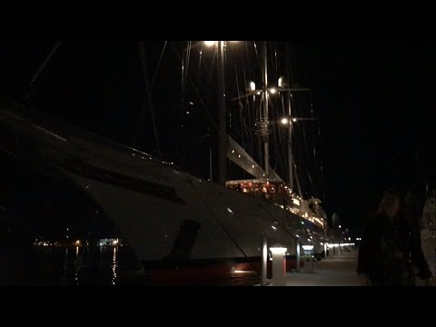 Athena—4th Largest Sailing Yacht—at night in Charleston, SC
