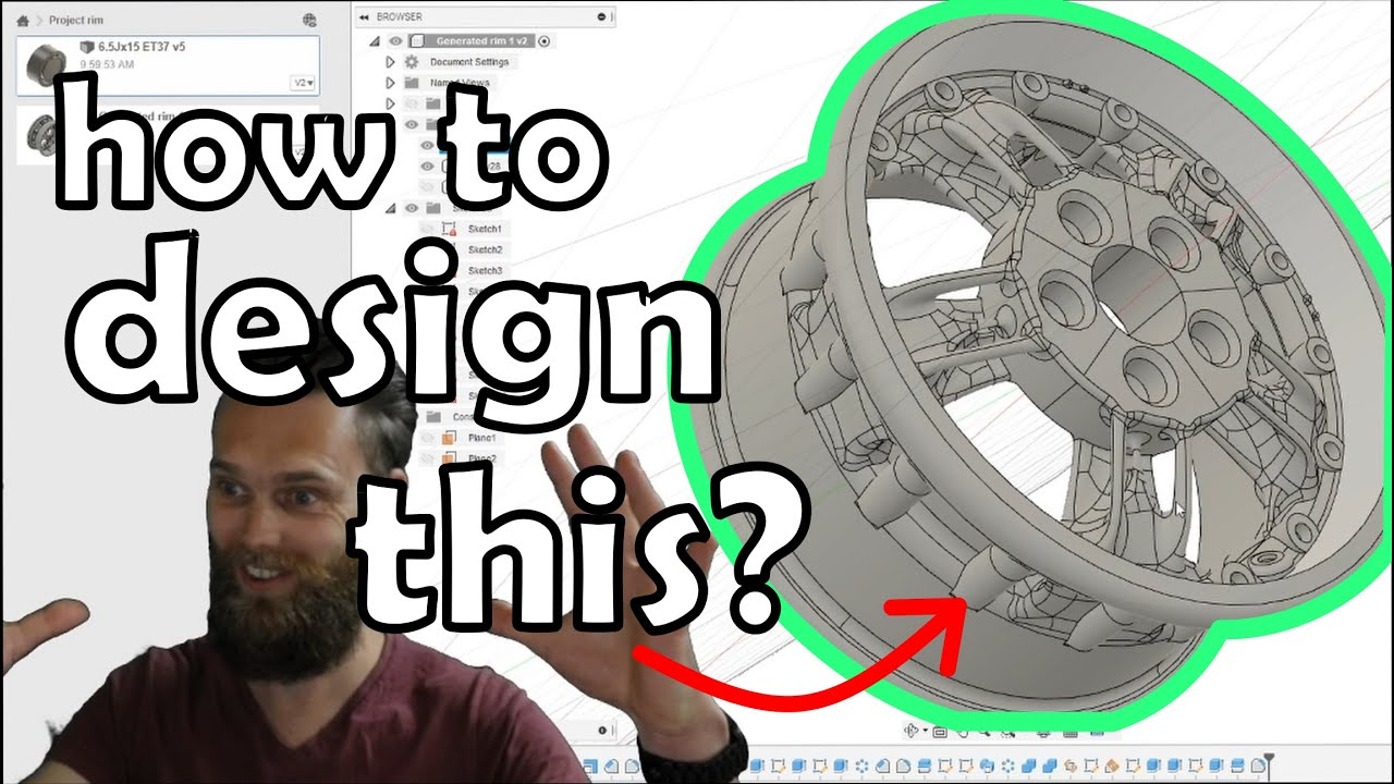 Using Fusion 360 generative design to design a full-sized 3D printable rim