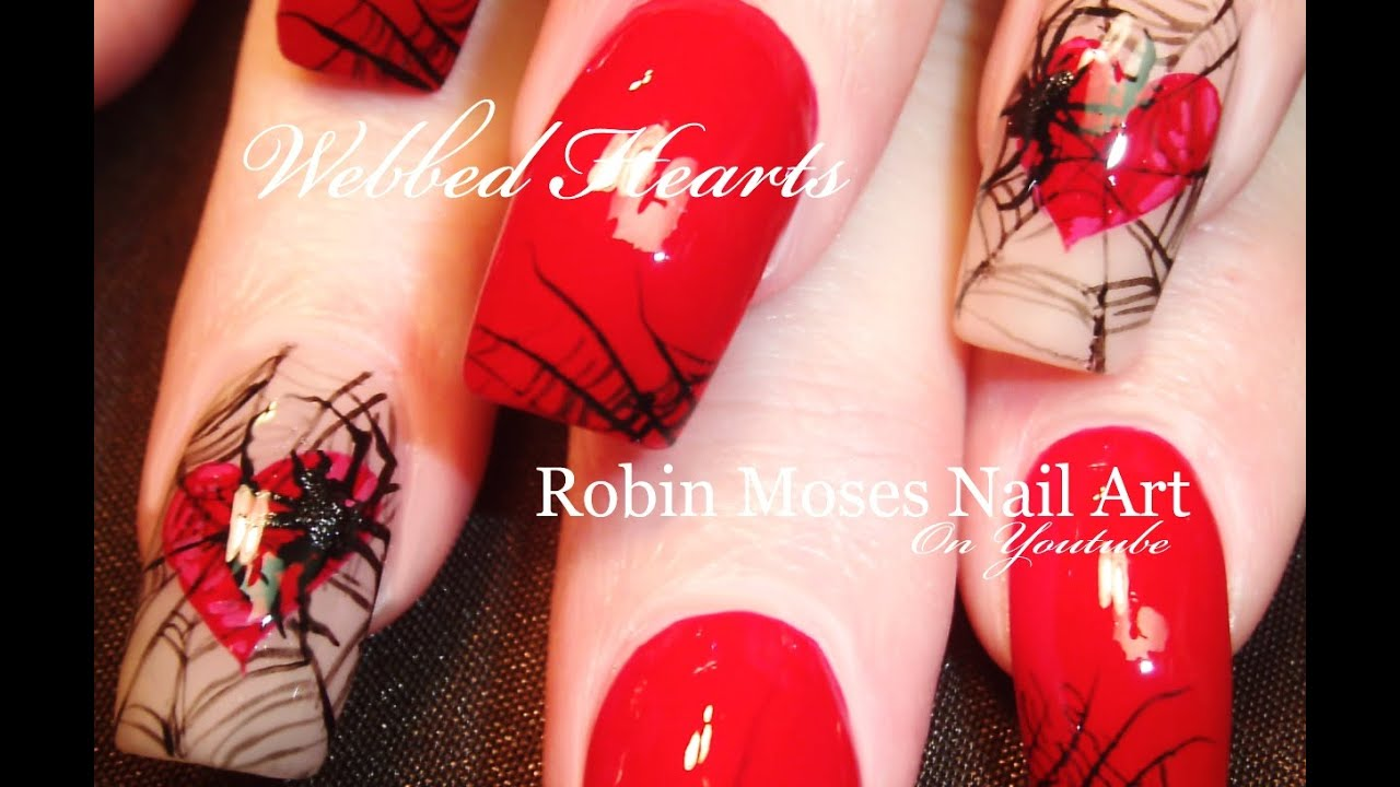 DIY Spider Nails | Red Hearts in Spiderweb Nail Art Design Tutorial ...