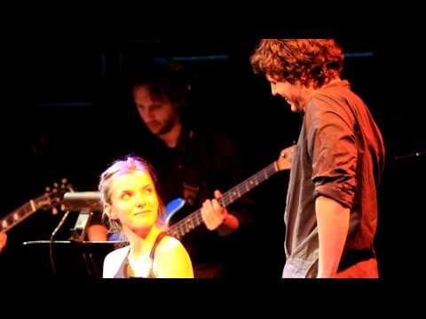 Jon Groff and Betty Gilpin singing at Joe's Pub