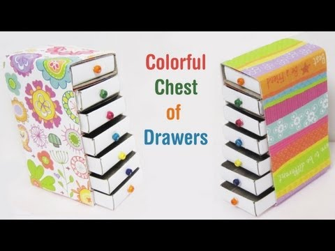 How to make a colorful mini chest of drawers using for Make something out of recycled materials