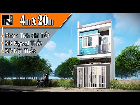 TNA131 - Mẫu nhà ống 2 tầng đẹp hiện đại 4x20m với 4 phòng ngủ | Kiến trúc TN