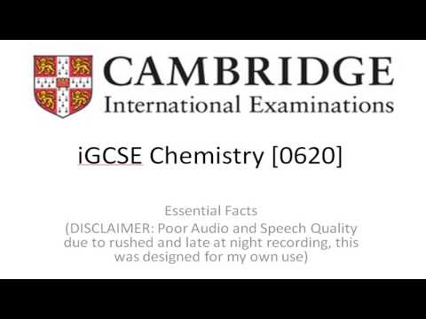 CiE (Any Board) iGCSE/GCSE Chemistry [0620] Essential Revision Facts