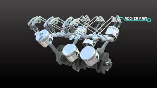 parts that make up a car engine 3d animation