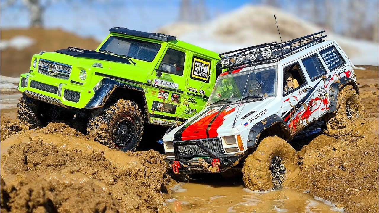 RC Cars MUD BATTLE Jeep 4x4 VS Mercedes G63 6x6 - What is the BEST?