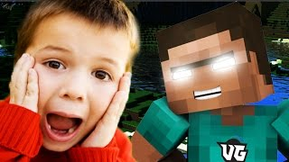KID TROLLS HIMSELF IN MINECRAFT (Minecraft Herobrine Trolling)