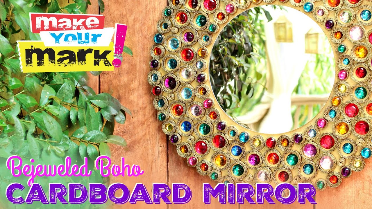 Bejeweled Boho Cardboard Mirror Diy Youtube