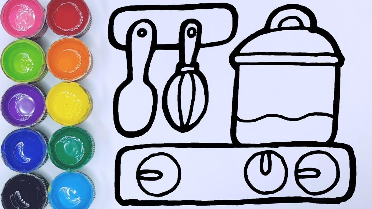 Cara Menggambar Dan Mewarnai Mainan Alat Dapur Youtube