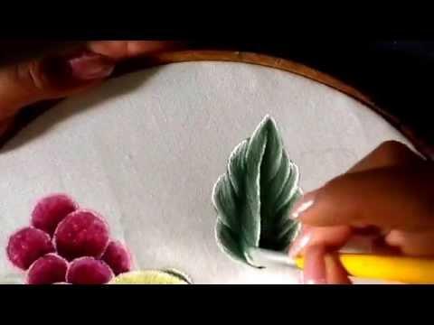 Pintura en tela hojas de limones con cony - YouTube