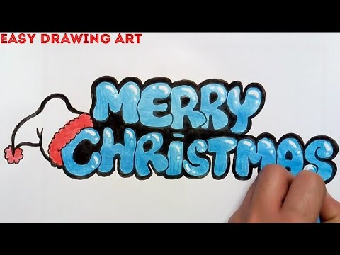 how to write Merry Christmas in bubble letters || how to ...