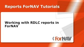 Working with RDLC reports in ForNAV